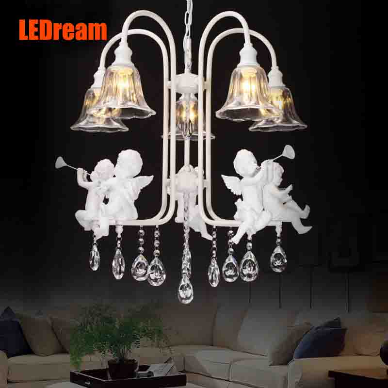 Compound villa dining-room Europe crystal art creative personality sitting room the bedroom lamp act the role ofing angel club ledream contracted and creative personality sitting room dining room art glass chandelier american cherry branches pendent lamp