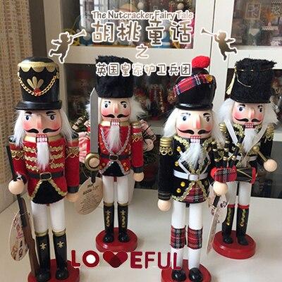 Новый 30 см высоком Рождество праздник Щелкунчик Англия настроения Винтаж Пособия по немецкому языку деревянный стол орех игрушка ZAKKA Кукл...