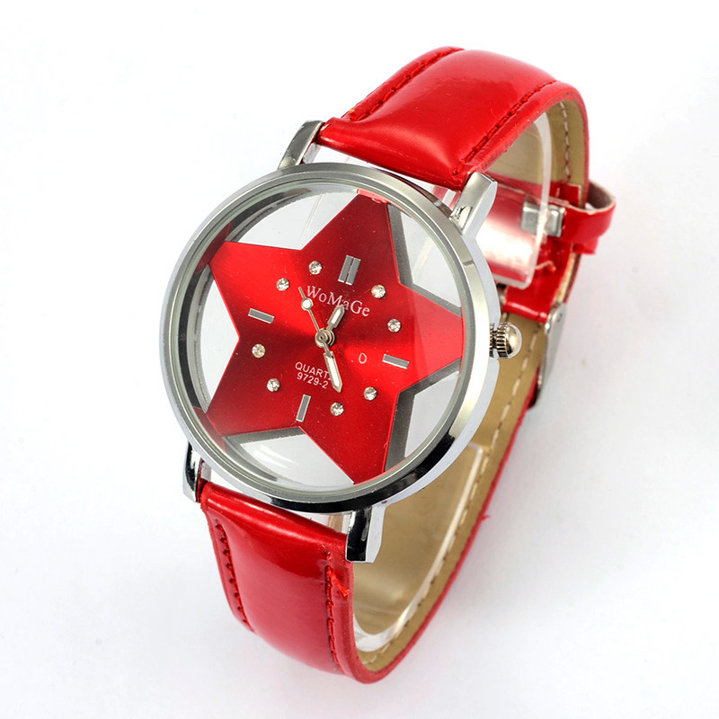 New Brand WoMaGeFive-pointed Star Women Watches Female Watch Lovely PU Leather Ladies Clock relogio feminino saat montre femme