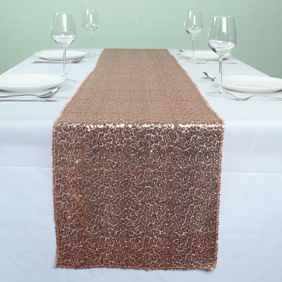 12u0026quot; X 72u0026quot; Rose Gold Sequin Table Runners For Wedding Event Party  Event Banquet