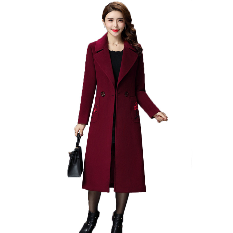 2018 New Women Slim Middle aged Mother Woolen Jacket Double breasted Cashmere Overcoat Autumn Winter Wool Jacket Coat Woman 4XL