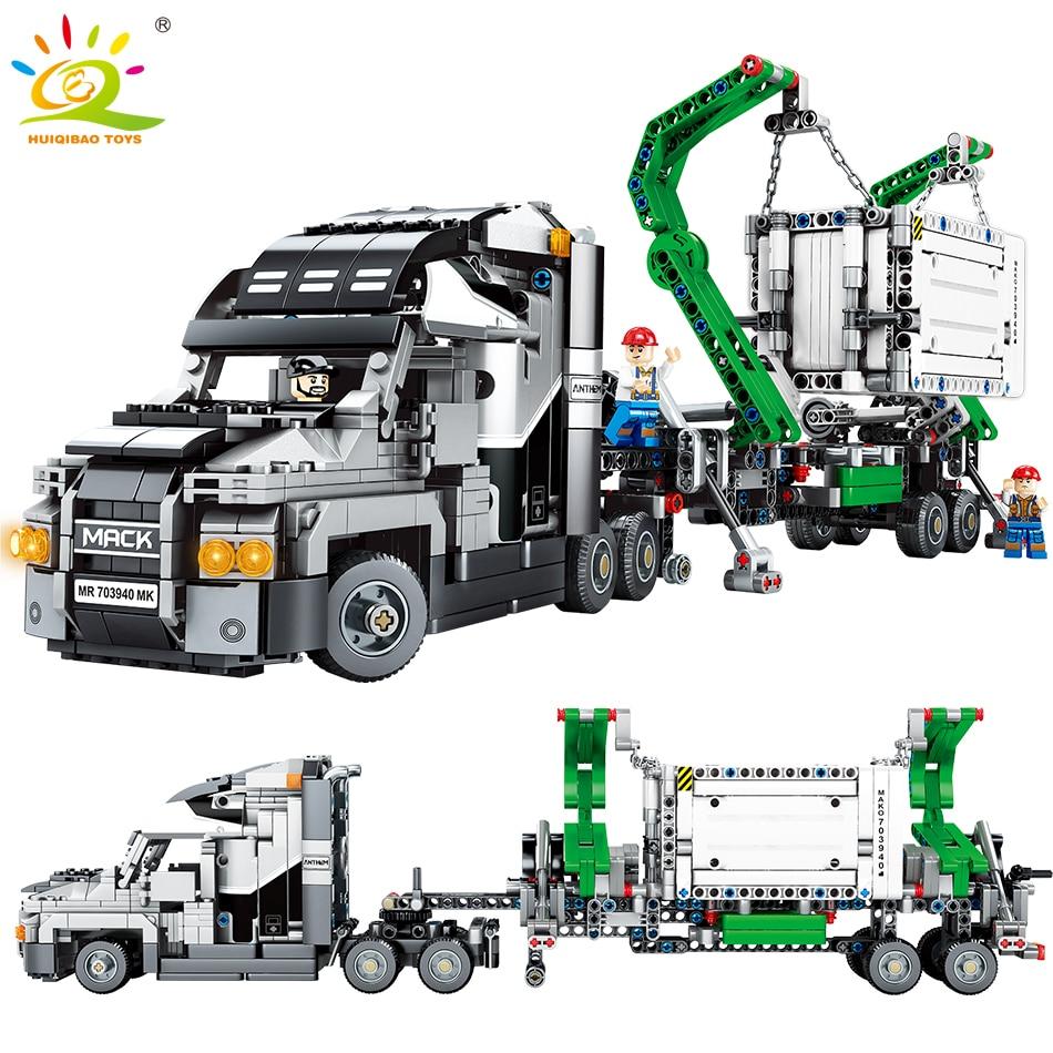 Nouveau 1202 pièces Contenant Camion Véhicules De Voiture Blocs de Construction Technique Voiture briques à monter soi-même Éducatifs Jouets pour Enfants
