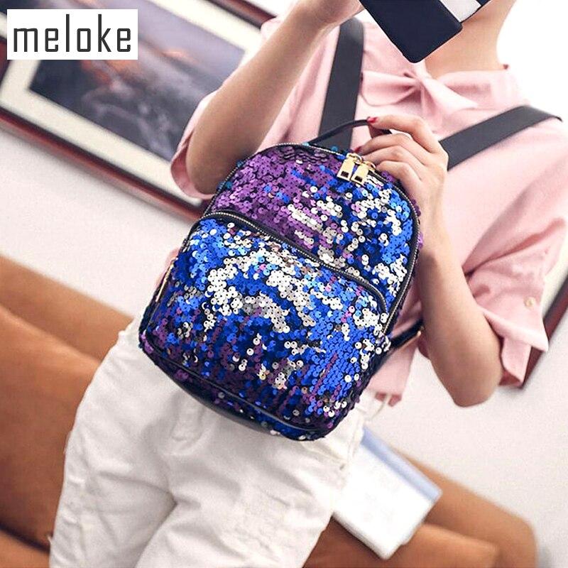 Meloke 2018 Women mini backpack PU Leather Sequins Backpack Small Travel bag Princess Backpacks for girls 3 colors MN492
