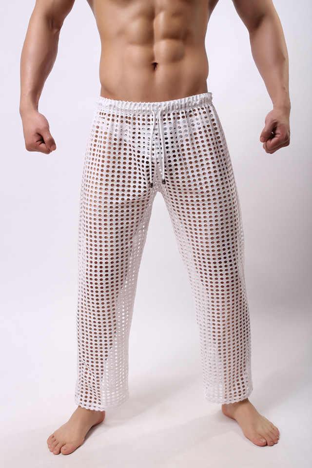 Grade moda Homens Sexy Ver Através de Arrastão Calças de Salão Masculino Gay Engraçado Sheer Longo Pajama Bottoms Sono Confortável Bottoms