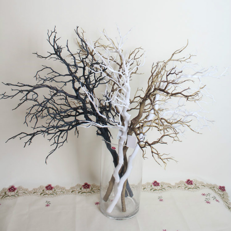 10pcs 인공적인 까만 백색 나뭇 가지 가정용 웨딩 장식을위한 플라스틱 말린 나뭇 가지 인공 꽃 긴 94cm