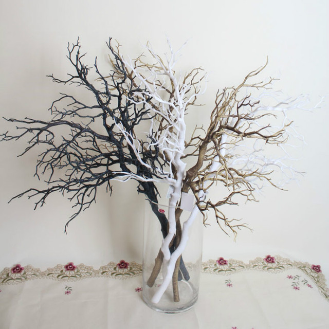 10pcs Artificial Black White Tree branches Plastic Dried Tree Branches  Artificial Flowers for Home Wedding decoration