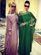 Arabisch Formale Long Sleeves Abend-abschlussball Perlen Chiffon Fares Sexy Kaftans Kaftan Abendkleider