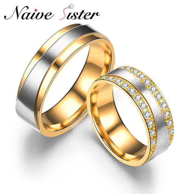 wedding bands cz gold romantic lover men item steel couple rings color for ring women stainless