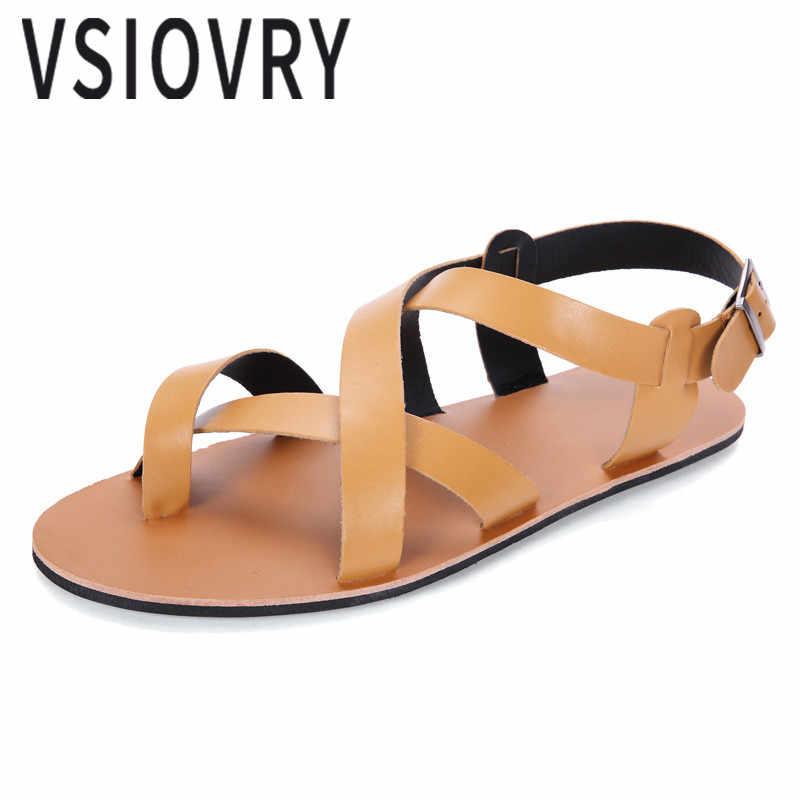 Vsiovry Летняя обувь Для мужчин кожаные сандалии 2018 Повседневное пляжная обувь мягкие Нескользящие тапочки открытый Туфли без каблуков пляжные сандалии для мужчин