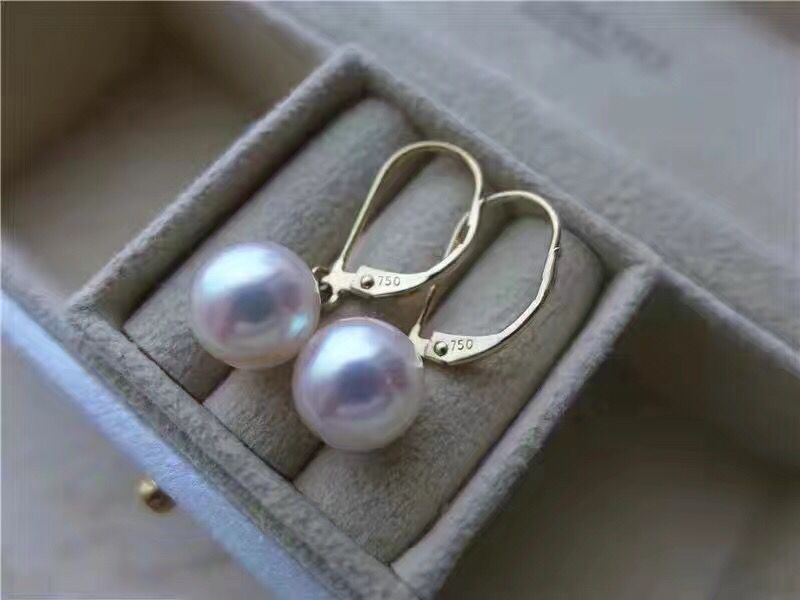 free shipping luxury Noble jewelry Genuine classic 11-12mm south sea round white pearl earring