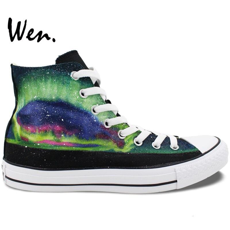 Prix pour Wen Chaussures Peintes à la main Design Original Personnalisé Coloré Aurora de Hommes Femmes High Top Toile Sneakers pour Cadeaux