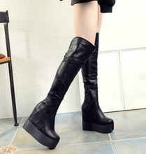 New winter knee boots stovepipe Muffin slope with ultra-high heel boots Increased women's boots in the nightclub