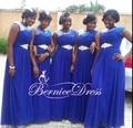 Barato Azul Royal Chiffon Longo Vestido de Dama de honra Vestido Custom Made até o Chão Frisado Longo Vestido de Festa Vestido De Renda 2014 nova