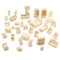 Acessórios para móveis casa de bonecas diy mini 34 pçs/set crianças educacional 3d puzzle woodcraft kit modelo handmade toys presente das crianças