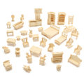 DIY Mini 34pcs/set Kids Educational Dollhouse Accessories Furniture 3d Woodcraft Puzzle Model Kit handmade Toys Children gift