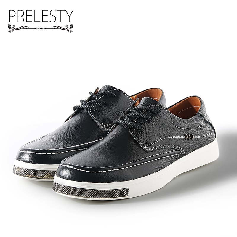 Prelesty Spring Basic Men Shoes Genuine Leather Moccasin Loafers Designer Lace Ups Flat Footwear Male Classical Chaussure clax men shoes luxury brand loafers genuine leather male driving shoes slip on black dress shoe moccasin designer classical
