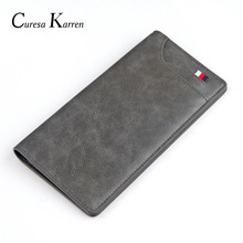New mens long wallet European and American retro fashion oil wax leather casual ribbon