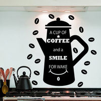 Wall Decals Coffee Quote Decal Beans Sticker Kitchen Cafe Decor Interior