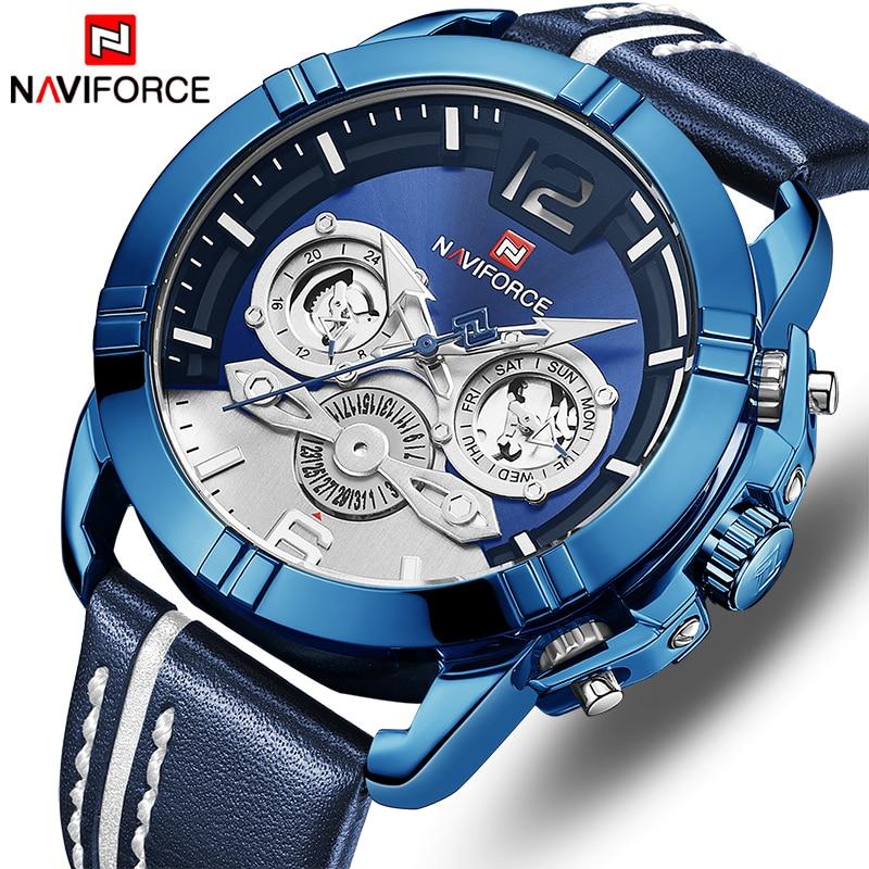 NAVIFORCE Luxury Brand Men Sports Quartz Men's Wrist Watches Leather Waterproof Male Clock Date Analog Relogio Masculino