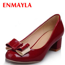 ENMAYER Round Toe women pumps Party Platform Patent Leather Red black green, pink Wedding shoes NEW 2015