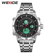 WEIDE Sports Luxury Brand Army Digital Calendar Alarm Quartz Analog Digital Stainless Steel Strap Men Watch Relogio Masculino