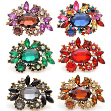 CINDY XIANG 6 colors choose large crystal pin brooches for women fashion vintage flower brooch party wedding accessories gift