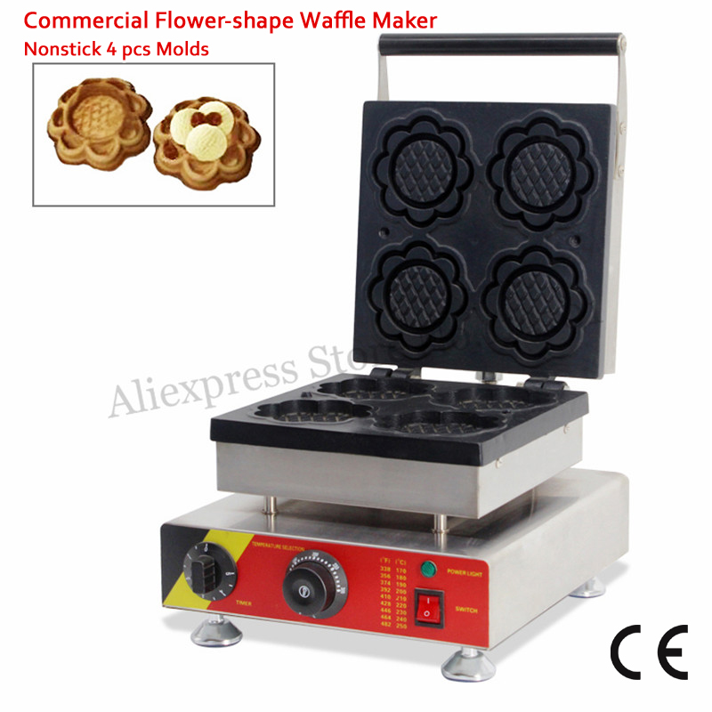Electric Flower-shape Waffle Machine Stainless Steel Ice Cream Bowl Maker 4 Moulds Non-stick Cooking Surface 220V 110V CE 220v 110v ce flat pan fried ice cream roll machine fried ice machine stainless steel freezing ice cream machine with glass cover