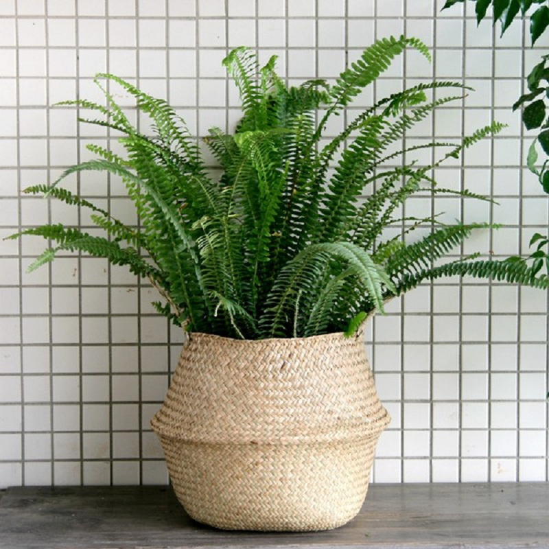 WCIC Handmade Rattan Basket Straw Basket Foldable Flower Pot Wicker Storage Basket Woven Seagrass Basket Vase Organization ...