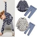 2016 conjuntos de ropa Para Niños de primavera/otoño juego de Las Muchachas juegos del bebé fija de dibujos animados de conejo vestido de una sola pieza + pantalones/pantalones legging