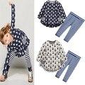 Conjuntos de roupas infantis 2016 primavera/outono Meninas terno define conjuntos de bebê menina dos desenhos animados coelho one piece-vestido + calças/calças legging