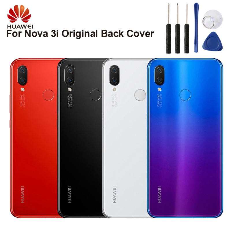 Huawei Authentic Back Cover Housing Case For Huawei NOVA3i NOVA 3i Battery Glass Rear Case in Half wrapped Cases from Cellphones Telecommunications