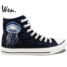 Wen Hand Painted Black Shoes Design Custom Jellyfish Men Women's High Top Canvas Sneakers for Christmas Gifts