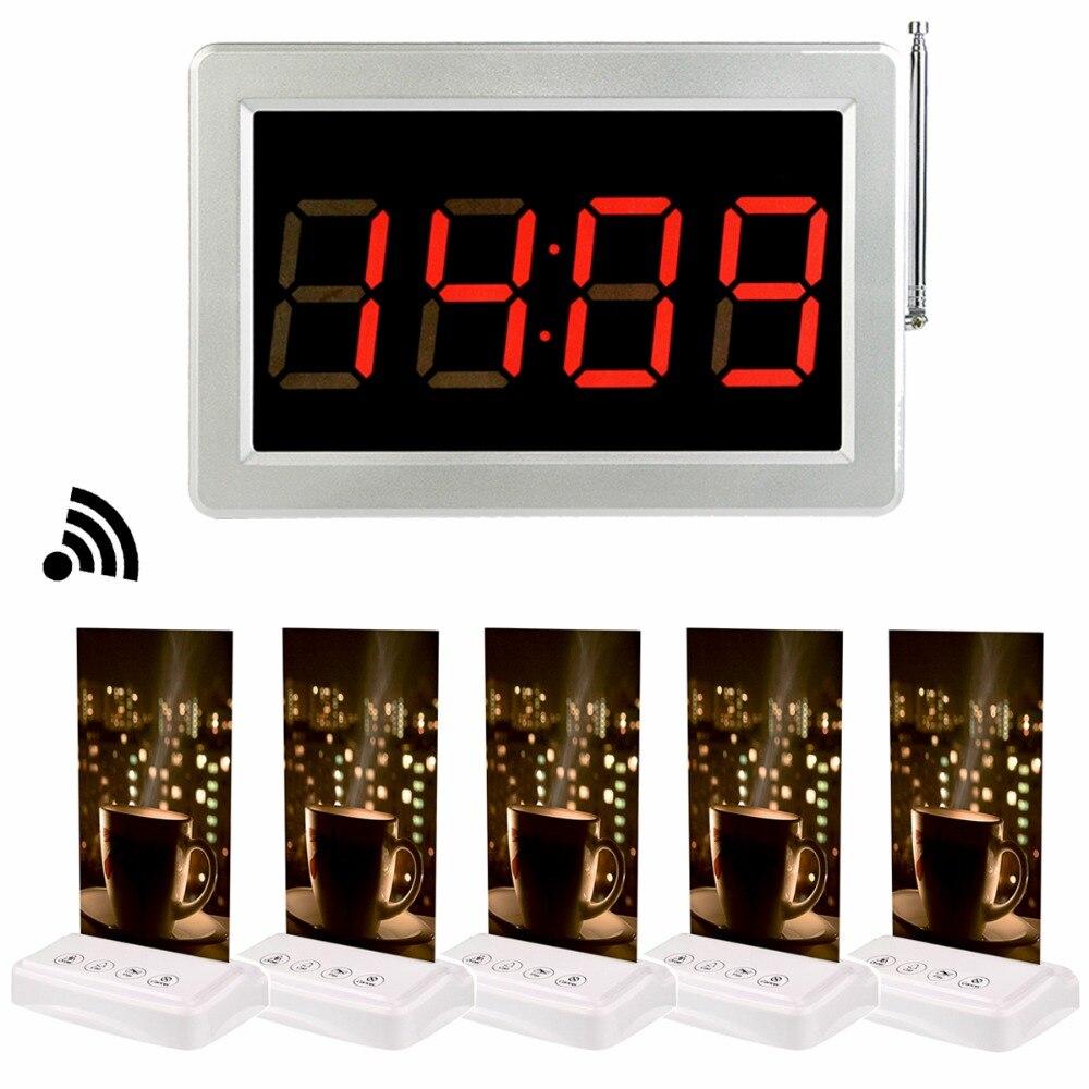 1 pcs 433 mhz Récepteur Hôte + 5 pcs Appel Émetteur Bouton Pager avec Table Carte Sans Fil Restaurant Café Boutique système d'appel