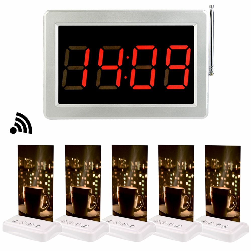 1pcs 433MHz Receiver Host +5pcs Call Transmitter Button Pager with Table Card Wireless Restaurant Coffee Shop Calling System 20pcs transmitter button 4pcs watch receiver 433mhz wireless restaurant pager call system restaurant equipment f3291e