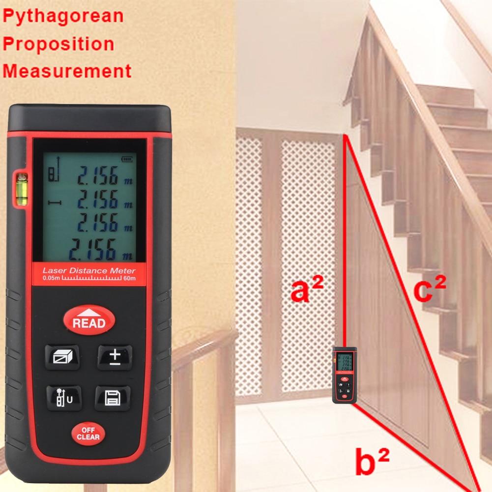 60M Handheld Digital Laser Distance Meter Range Finder Measure Diastimeter