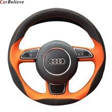 Carro acreditar couro genuíno cobertura de volante do carro para audi a3 8p a5 sportback q3 q5 q7 a4 a6 volante acessórios do carro