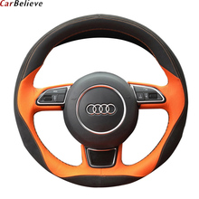 Housse de volant de voiture en cuir véritable, pour audi a3 8p a5 sportback q3 q5 q7 a4 a6, accessoires de volant