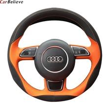 רכב מאמין אמיתי עור רכב הגה כיסוי לאאודי a3 8p a5 sportback q3 q5 q7 a4 a6 הגה אביזרי רכב