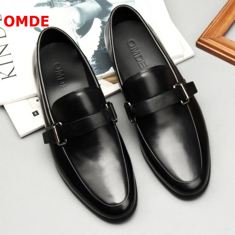OMDE British Style Black Leather Loafers Fashion Buckle Slip-on Formal Shoes Men Business Office Shoes Summer Mens Dress Shoes