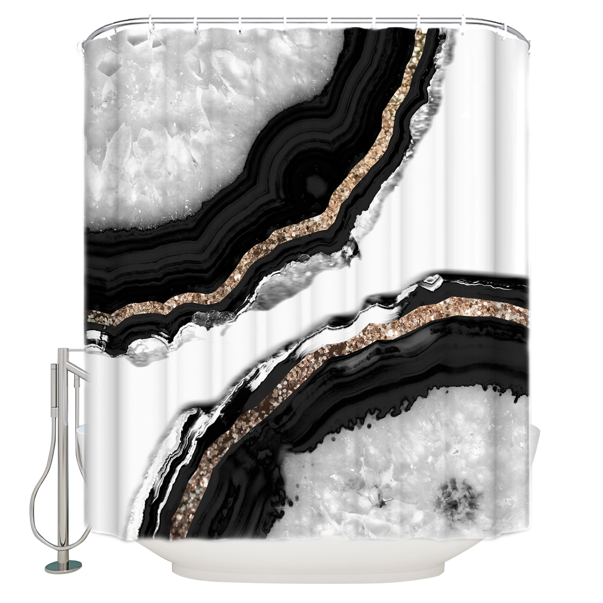 Glitter Christmas Tree Shower Curtain Waterproof Fabric Bathroom Hooks Mat Set