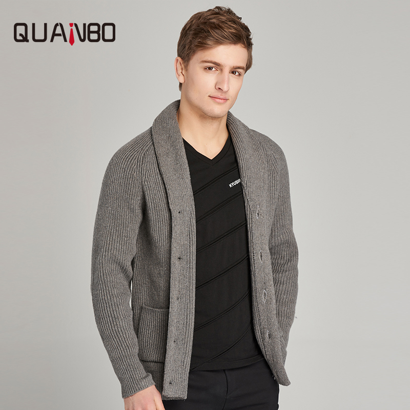 QUANBO 30% Laine Hommes Chandails 2018 Nouveau Hiver Printemps Mode décontracté Rabattu cardigan qualité supérieure Poches Sweatercoat