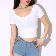 цена Yfashion Woman Bodycorn Crop Tops T-shirt Solid Black White O Neck Sexy T Shirts Short Sleeves Base T Shirts Tee Female Women в интернет-магазинах