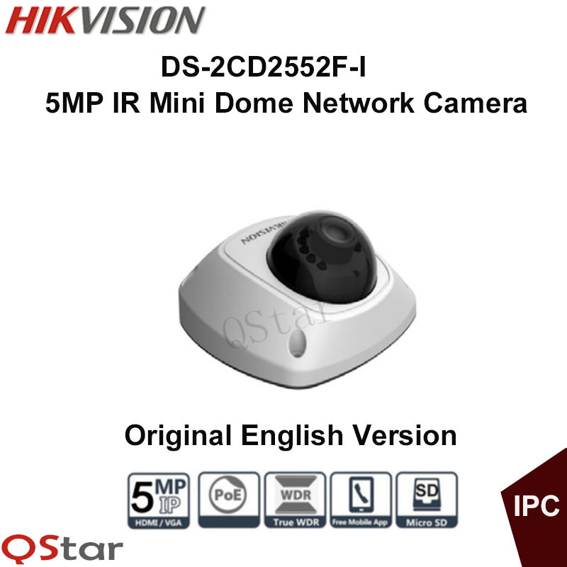 Hikvision Original English Version DS-2CD2552F-I 5MP IR Mini Dome Network IP Camera Full HD1080P 10m POE WDR CCTV Camera 16pcs lot hikvision ds 2cd2735f is ip camera 3mp full hd ip66 dome camera water proof poe power network ir