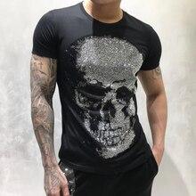 DUYOU, мужские дизайнерские футболки, мужские, короткий рукав, модные, стразы, большой череп, Мужская футболка, высокое качество, хлопок, футболки, fzw070