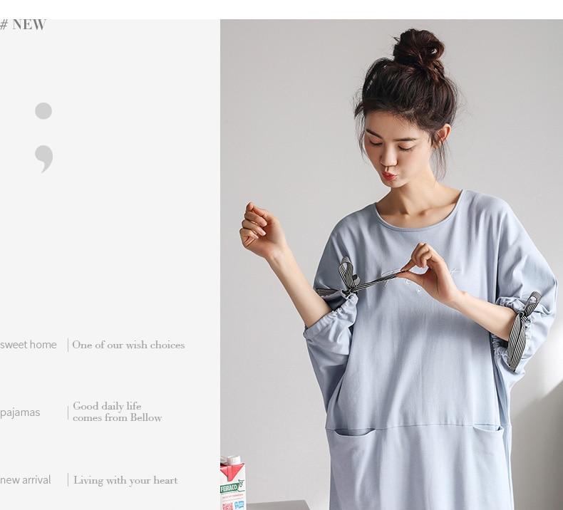 Nachthemd & Bademantel-sets Damen-nachtwäsche Frühling Baumwolle Pyjamas Frauen Nachthemd Dünne Weibliche Hülse Leisurewear Sommer Nachtwäsche Set