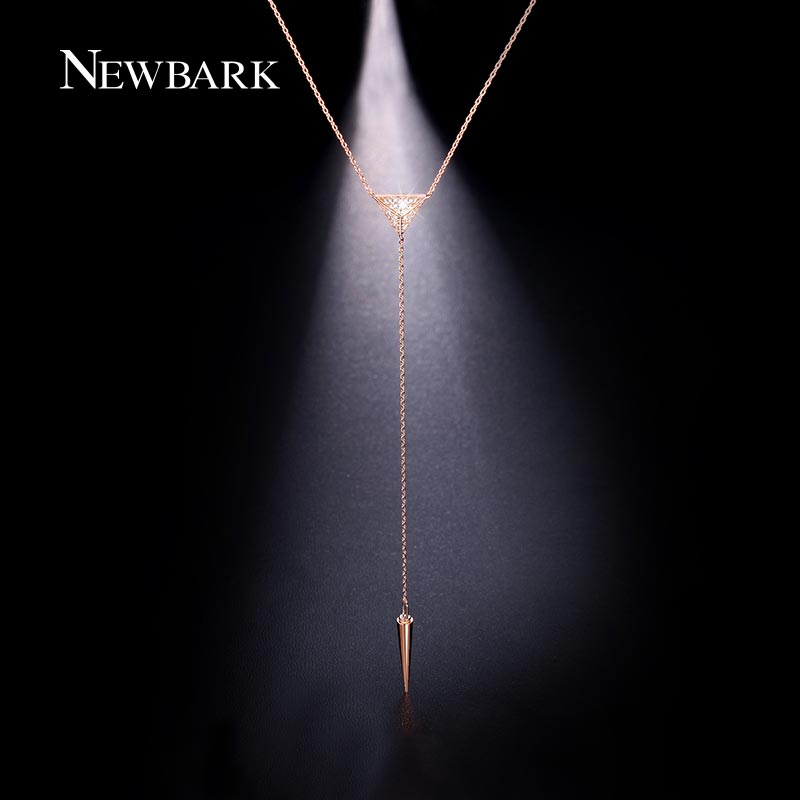 NEWBARK Sexy Modern Y Shape Long Necklace With Triangle Spike Pendant Pave CZ Chain Necklace Women Boho Jewelry