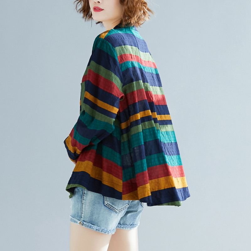 Women Multicolor Striped Shirt Casual Long Sleeve Button Blouse Plus Size Casual Women spring Summer Elegant Cotton Top 4