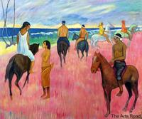 Abstract Art Riders on the Beach, II 1902 by Paul Gauguin Oil Painting Canvas Figures Original Quality