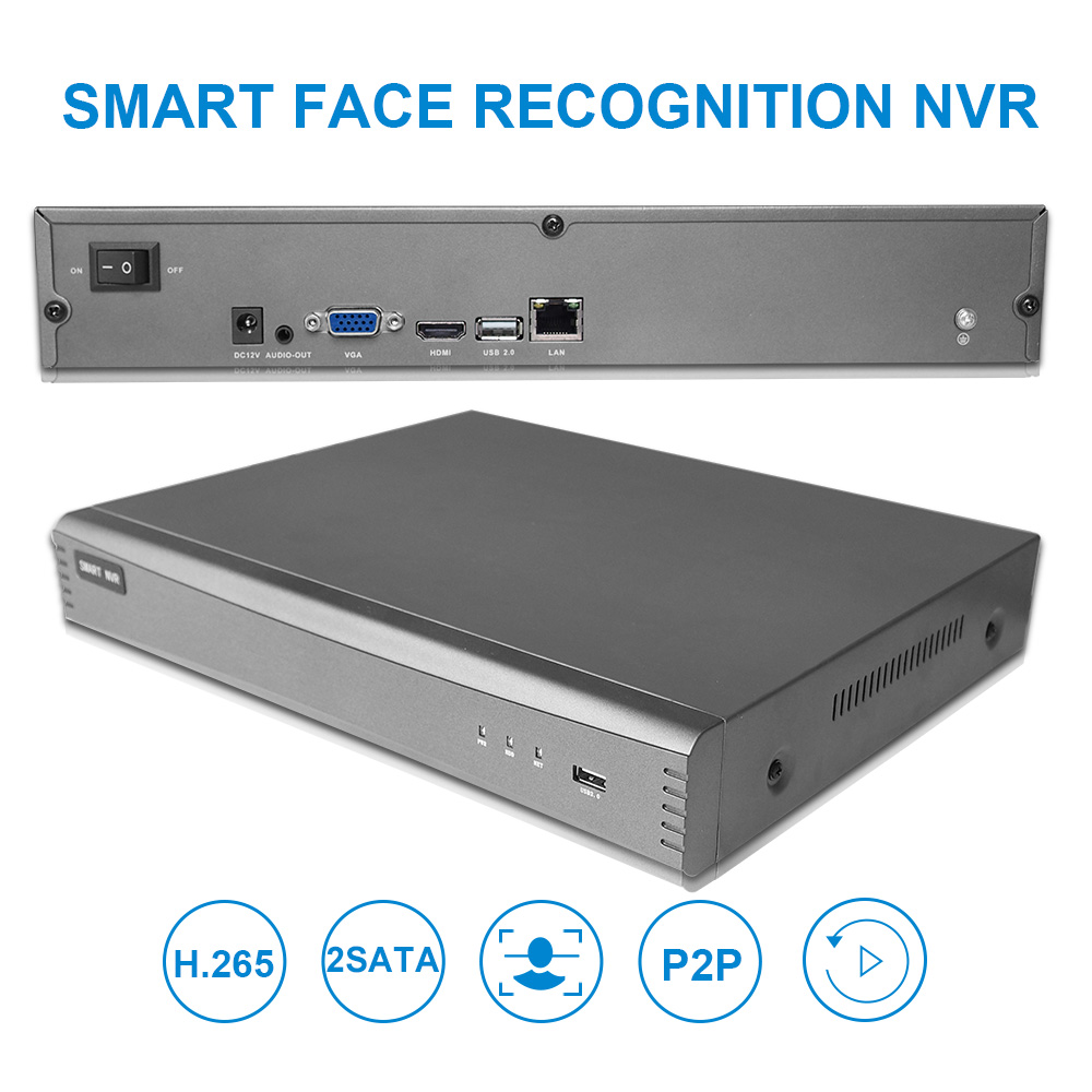 4CH Intelligent Analysis 4K H.265 Network Recorder With2CH 1080P Face Recognition NVR Face Capture Comparison 2000 Face Database