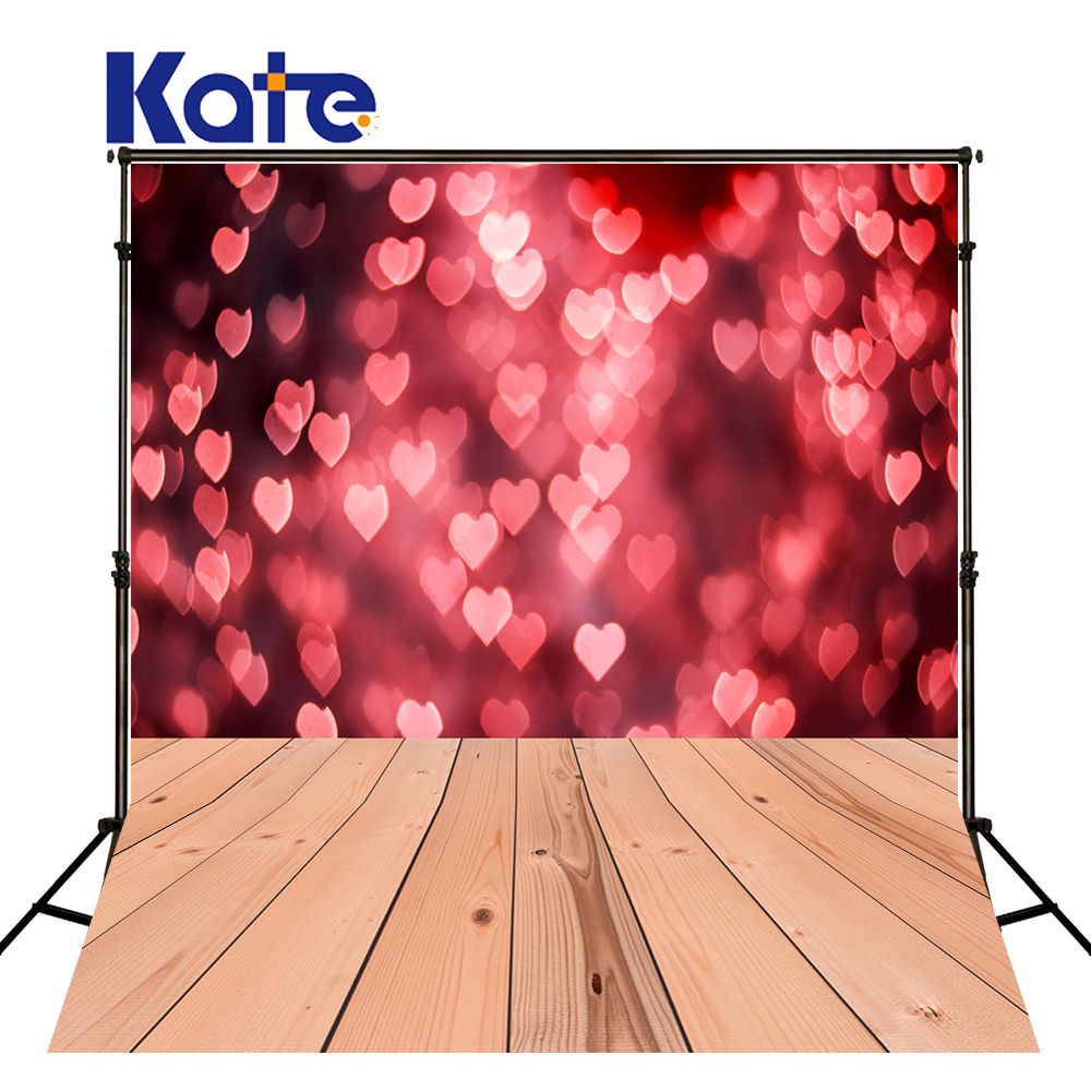 KATE Valentines Day Kids Red Heart Photo Background Love Valentine Day Photography Backdrop Bokeh and Wood Floor Backdrops huayi love photography backdrop scenery custom photo portrait studios background valentine s day backdrop xt4838